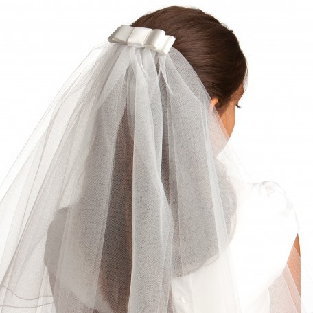 Communion Veil- Clip- on -Jackie Satin Bow