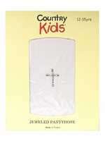 Country Kids Communion Pantyhose w/Crystal Cross