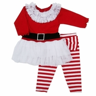 """Haute Baby """"Ho Ho Ho"""" 2pc Toddler Girl Holiday Outfit"""