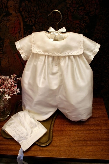 Isabella Boys Christening - Silk Bubble & Bonnet