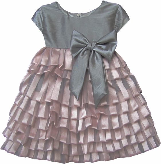 Isobella & Chloe *Prima Ballerina* Grey Satin Drop Waist Dress with Ruffled Skirt Sizes 2T-4t