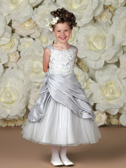 Joan Calabrese-*113358* Taffeta, Lace and Gathered Bodice - Lovely in White for Communion!