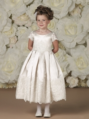 Joan Calabrese-*113361* Satin and Lace with Box Pleated Skirt