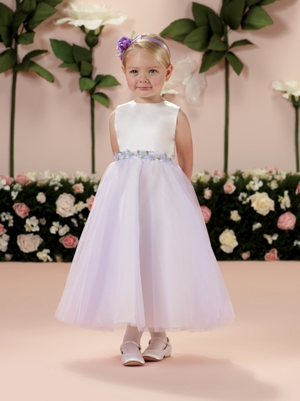 Joan Calabrese *114330* Flower Girl Dress -Lavender-Ivory and Spun Gold