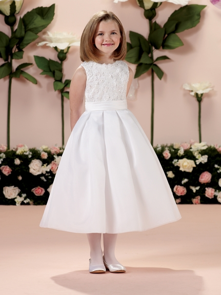 Joan Calabrese *114343* Communion Dress - Satin with Jewel Neckline