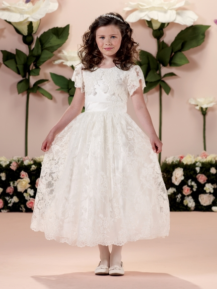 Joan Calabrese *114345* Communion Dress--Two-piece satin, tulle and lace dress set-