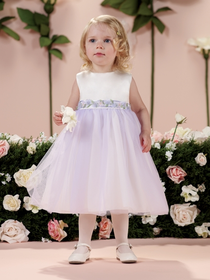Joan Calabrese *114356b* Sleeveless satin and tulle tea-length fancy baby