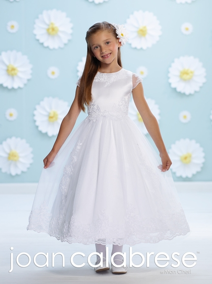 Joan Calabrese-116394-Tulle with Sheer Sleeve -Communion Dress