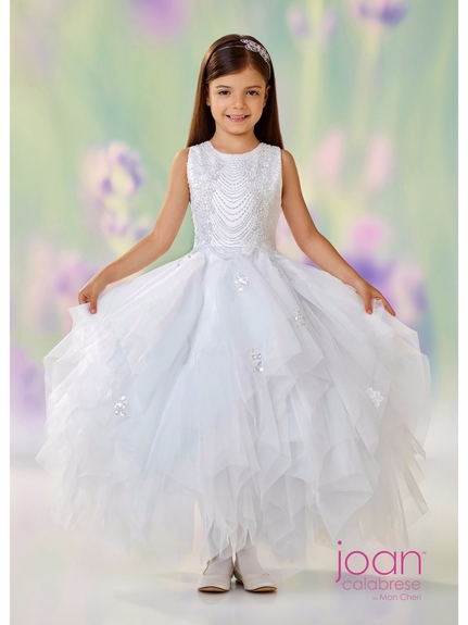Joan Calabrese-118304 Communion/Flower Girl Dress - Hand-Beaded White Only