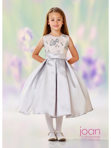 Joan Calabrese-118313 Communion/Flower Girl-Satin & Lace-Color Selection