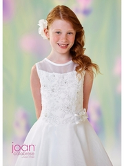 Joan Calabrese-118316 Communion Dress-Satin & Organza-Half Sizes-White Only