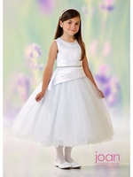 Joan Calabrese-118317-Communion Dress- Satin & Tulle-White Only