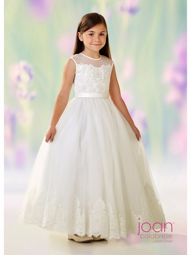 Joan Calabrese 118318-Communion Dress-Satin Embroidered Lace