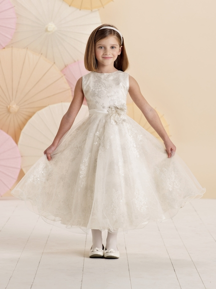 Joan Calabrese *214379* Sleeveless satin, tulle and lace mid-calf length