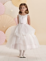 Joan Calabrese *214380* Sleeveless satin, tulle and lace tea-length with lace cap sleeve