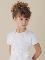 Joan Calabrese *1133jkt* Satin Short Sleeve Bolero Shrug