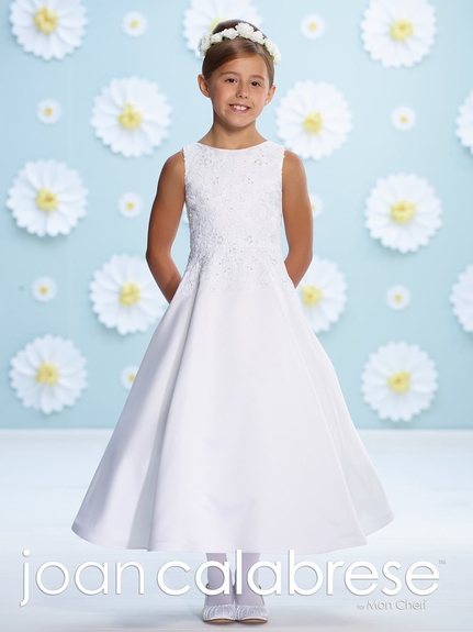 Joan Calabrese-Communion Dress-116384- A-Line , hand beaded lace-Also available in Half Sizes