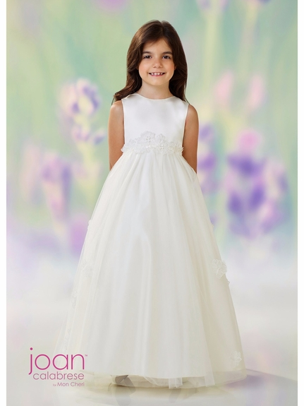 Joan Calabrese-118320-Communion Dress-Satin & Lace Applique