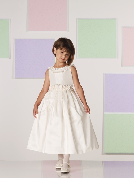 Joan Calabrese for Mon Cheri *Sleeveless Ruffle Trim Flower Girl Dress*