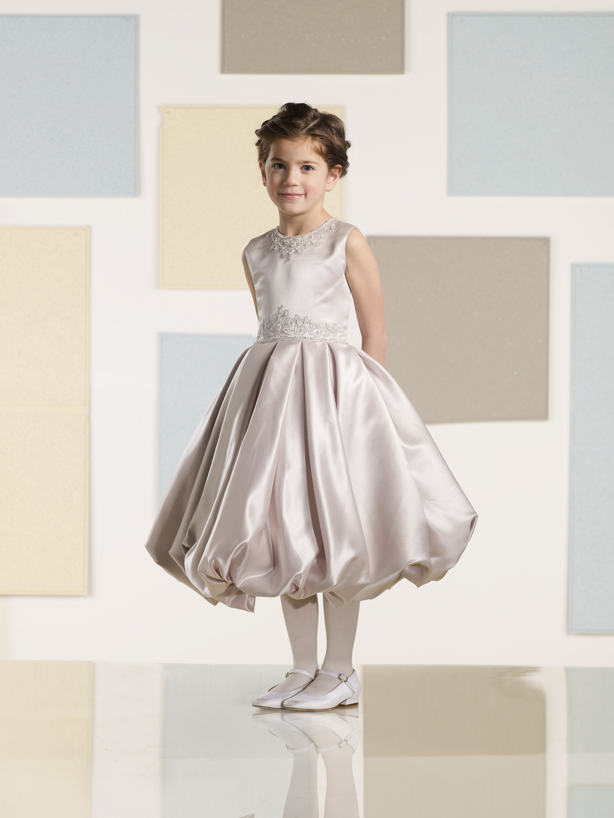 Joan Calabrese Satin Beaded Flower Girl Dress 210352