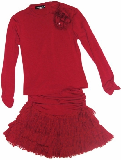 Kate Mack *A Dozen Roses* Ruby Red Knit Tee & Ruffled Skirt 2-Piece Set SOLDOUT!!