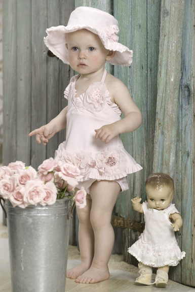 Kate Mack Baby Swimsuit Pink Flower onepiece