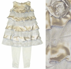 "Kate Mack ""Bon Bon"" Silver Satin Rhumba Dress w/Legging, *SOLD OUT*"