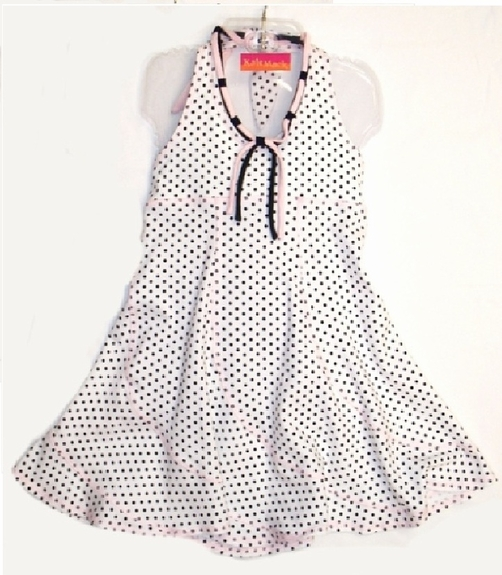"Kate Mack ""Bow Peep"" Polka Dot Swing Knit Dress Sizes 4, 5"