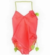Kate Mack *Copacabana* Solid Coral 1pc Halter Swimsuit