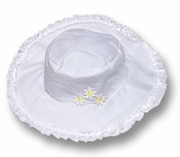 Kate Mack *Daisy Mae*  White Floppy Beach Hat with Eyelet and Daisies Trim