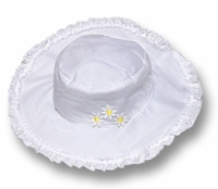 Kate Mack Girls Daisy May White Floppy Beach Hats with Eyelet and Daisies Trim