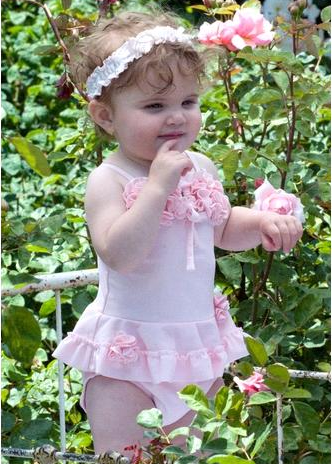 "Kate Mack ""Pixie Petals"" Precious Two Piece Bathing Suit Size 3m - 9m"