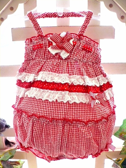 Kate Mack *Roses Are Red *Gingham Bubble- Size 3m- 9m