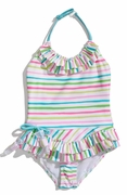 "Kate-Mack-""Salt Water Taffy"" Skirted 1PC Swimsuit -12m"