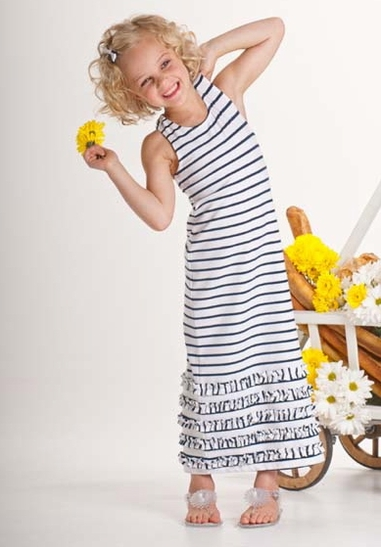 Kate Mack *Seaside Petals* - Navy Blue Striped Maxi Dress Sizes 10 & 12