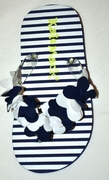 Kate Mack *Seaside Petals* - Navy Flowerette Flip Flops