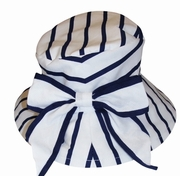 Kate Mack *Seaside Petals* - Navy Striped Hat