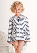 Kate Mack *Seaside Petals* - Navy Striped Zip Up Hoodie Jacket Sizes 4 Left Only!