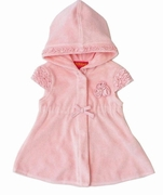 "Kate-MackPixie Petals"" Short Sleeve Pink Hooded Coverup"