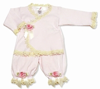Katie Rose -  *Paula* Baby top and Bloomer - 2PC Set  & Matching Hat - Made in USA!