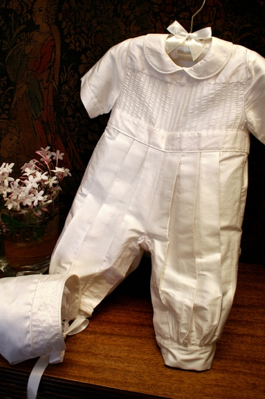 Baby Boy's Christening Silk Romper *Pin Tucks*