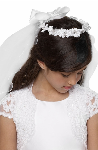 Us Angels Communion Floral Wreath w/ Veil-Style V-82
