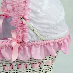 Wicker Doll Carriage with Pink Gingham Bedding