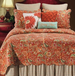Adele Jacobean Red Floral Quilt