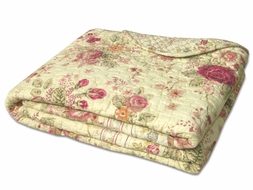 Antique Rose Quilted Throw