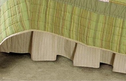 Beige Cream Striped Bedskirt Ruffle