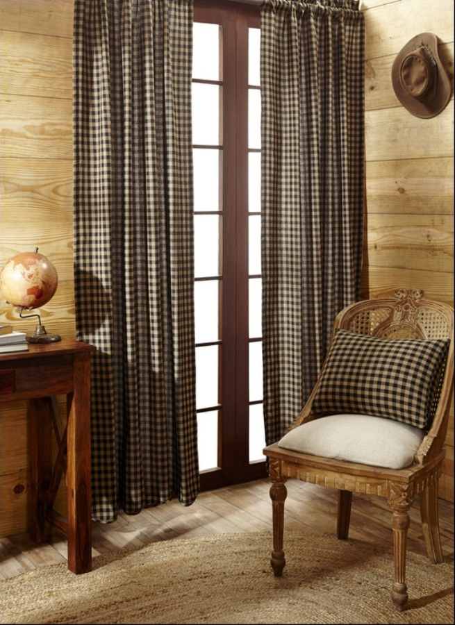 Black And Tan Checks Panel Drapes 84x40