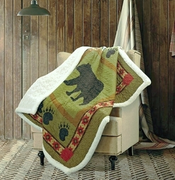 Black Bear Paw Quilted Sherpa Throw