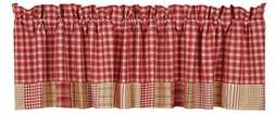 Breckenridge Red Plaid Block Border Valance