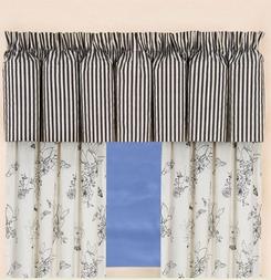 Dandridge Botanical Black & White Stripe Valance